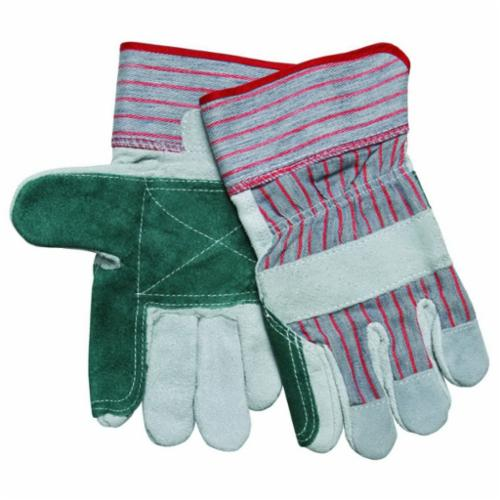 Memphis 1211J Double Palm Economy Grade General Purpose Gloves, Leather Palm, Gunn Pattern/Standard Finger/Wing Thumb Style, L, Cowhide Leather Palm, Cowhide Leather, Gray, Safety Rubberized Cuff, Resists: Abrasion and Puncture, Fleece Lining
