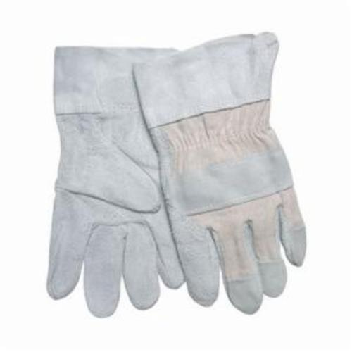 Memphis 1220D Economy Grade General Purpose Gloves, Leather Palm, L, Cowhide Leather Palm, Cowhide Leather/Denim, Blue/Gray, Safety Cuff, Uncoated Coating, Fleece Lining, Gunn Pattern/Standard Finger/Wing Thumb