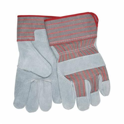 Memphis 1240 Industrial Grade General Purpose Gloves, Leather Palm, L, Cowhide Leather Palm, Cowhide Leather, Gray/White, Safety Cuff, Uncoated Coating, Fleece Lining, Gunn Pattern/Standard Finger/Wing Thumb