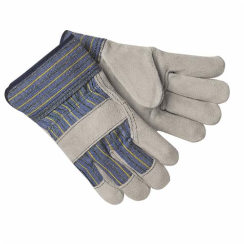 Memphis 1400 A-Grade General Purpose Gloves, Leather Palm, Cowhide Leather Palm, Cowhide Leather, Gray, Plasticized Safety Cuff, Fleece Lining, Gunn Pattern/Standard Finger/Wing Thumb