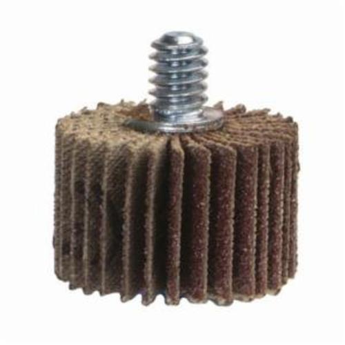 Merit® Grind-O-Flex™ 08834131010 XX-0011 High Performance Mini Mounted Quick-Change Small Diameter Coated Flap Wheel, 1 in Dia, 1 in W Face, P120 Grit, Medium Grade, Aluminum Oxide Abrasive