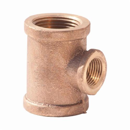 Merit Brass XNL106-242412 Pipe Reducer Tee, 1-1/2 x 3/4 x 1-1/2 in Nominal, FNPT End Style, 125 lb, Brass, Rough, Import