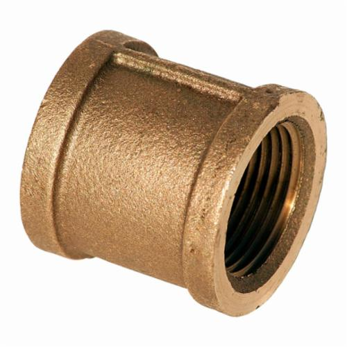 Merit Brass XNL111-08 Straight Pipe Coupling, 1/2 in Nominal, FNPT End Style, 125 lb, Brass, Rough, Import