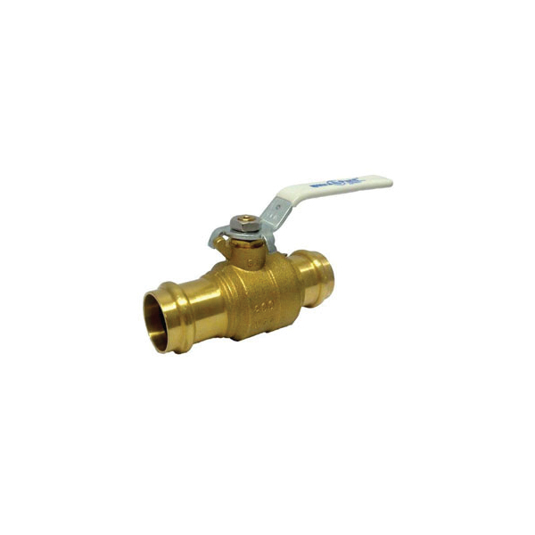 Milwaukee Valve Ultrapress™ Ultra Pure™ UPBA-480B-34 UPBA480B 2-Piece Ball Valve With Handle, 3/4 in Nominal, Press End Style, Forged Brass Body, Full Port, Import