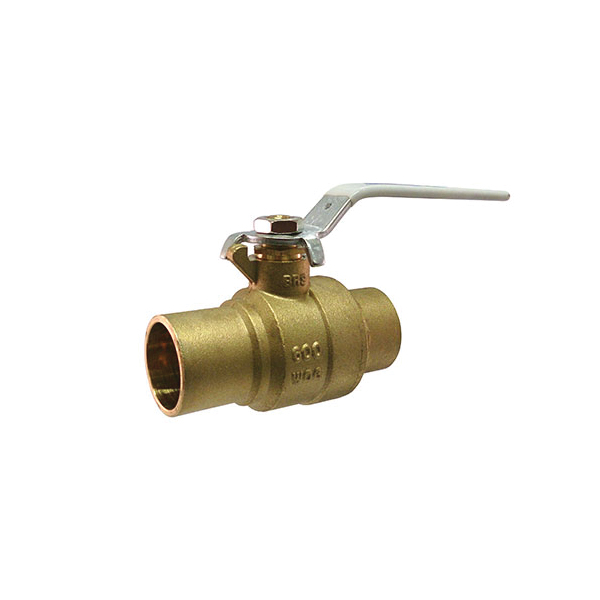 Milwaukee Valve Ultra Pure™ UPBA-485B-34 UPBA485B 2-Piece Ball Valve With Handle, 3/4 in Nominal, Solder End Style, Forged Brass Body, Full Port, PTFE Softgoods, Import