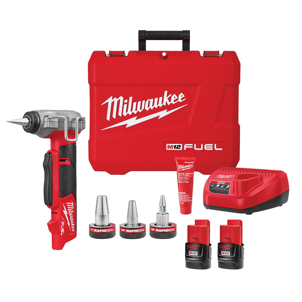 Milwaukee® 2532-22 M12 FUEL™ ProPEX® Expander Kit With RAPID SEAL™ ProPEX® 1/2 to 1 in Expander Heads, 3/8 to 1 in Expansion Tool Pipe, 12 V, Lithium-Ion Battery