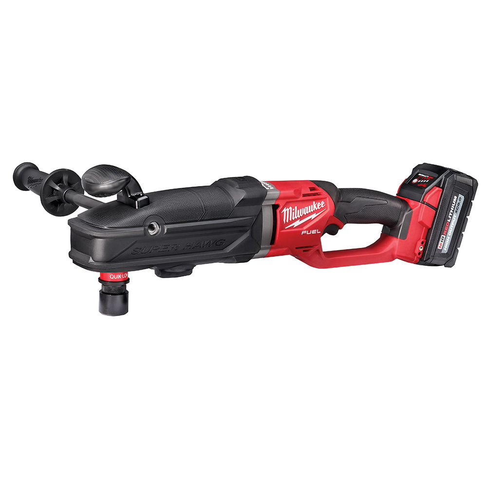 Milwaukee® M18 FUEL™ SUPER HAWG® 2811-22 Cordless Right Angle Drill Kit, 1/2 in Keyless Chuck, 18 V, 1550 rpm No-Load, REDLITHIUM™ Lithium-Ion Battery