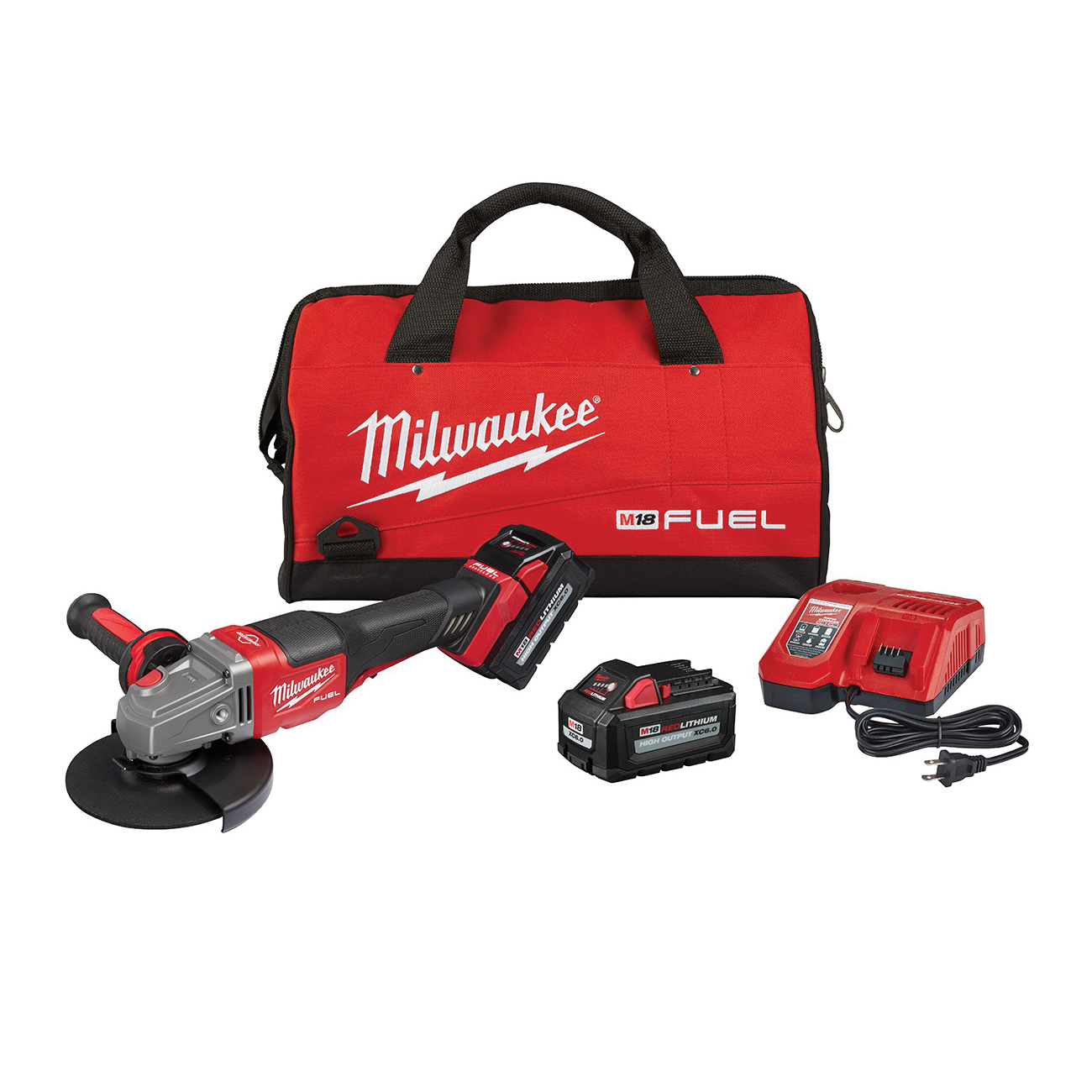 Milwaukee® M18 FUEL™ 2980-21 Braking Small Cordless Angle Grinder Kit With Paddle Switch Kit, 6 in Dia Wheel, 5/8 in Arbor/Shank, 18 V, Lithium-Ion Battery, 1 Batteries, Paddle Switch