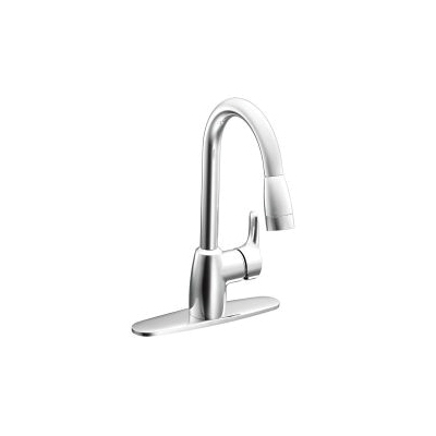 CFG CA42519 Baystone™ Pull-Down Kitchen Faucet, 1.5 gpm Flow Rate, Polished Chrome, 1 Handles, 1/3 Faucet Holes, Function: Traditional, Domestic, Residential