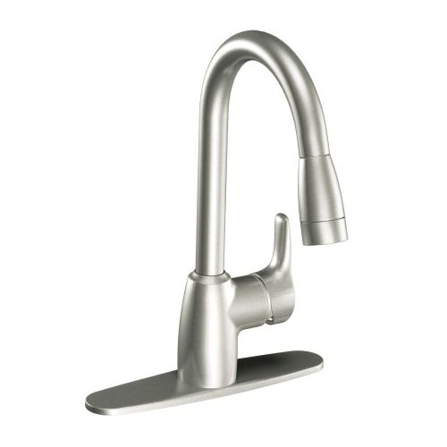 CFG CA42519CSL Pull-Down Kitchen Faucet, Baystone™, 1.5 gpm Flow Rate, Classic Stainless Steel, 1 Handles, 1/3 Faucet Holes, Function: Traditional, Domestic, Residential