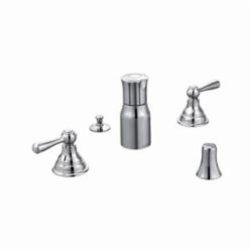 Moen® T5210 Bidet Faucet, Kingsley®, 6 to 16 in Center, Polished Chrome, 2 Handles, Pop-Up Drain, Domestic