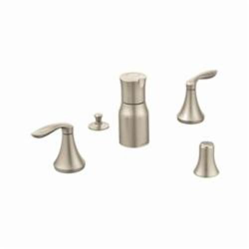 Moen® T5220BN Widespread Bidet Faucet, Eva®, 8 to 16 in Center, Brushed Nickel, 2 Handles, Pop-Up Drain, Import