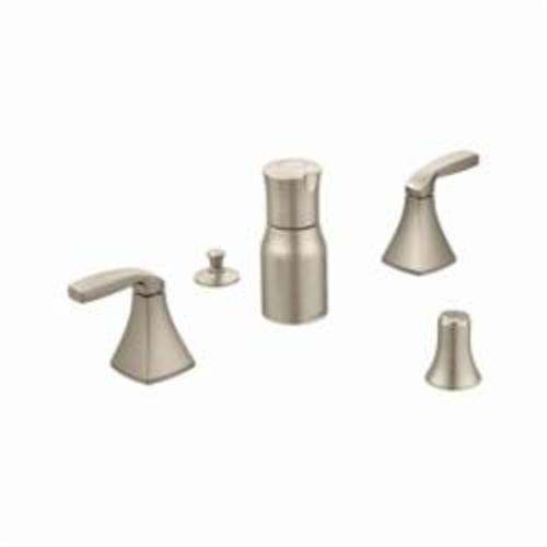 Moen® T5269BN Voss™ Widespread Bidet Faucet, 2.2 gpm Flow Rate, 8 to 16 in Center, Brushed Nickel, 2 Handles, Domestic