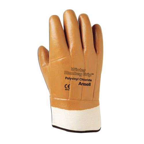 Winter Monkey Grip® 23-191-10 Heavy Duty Cut Resistant Gloves, SZ 10, PVC Coating, Cotton/Jersey, Knit Wrist Cuff, Resists: Abrasion and Cut, ANSI Cut-Resistance Level: A1