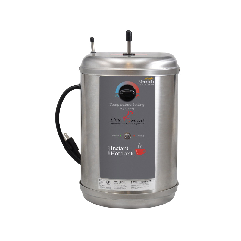 Mountain Plumbing Products Little Gourmet® MT641-3 Premium Hot Water Dispenser, 5/8 gal Capacity, 11-3/4 in H x 7-3/4 in W x 8-1/4 in D Tank, 1/4 x 3/8 in Water