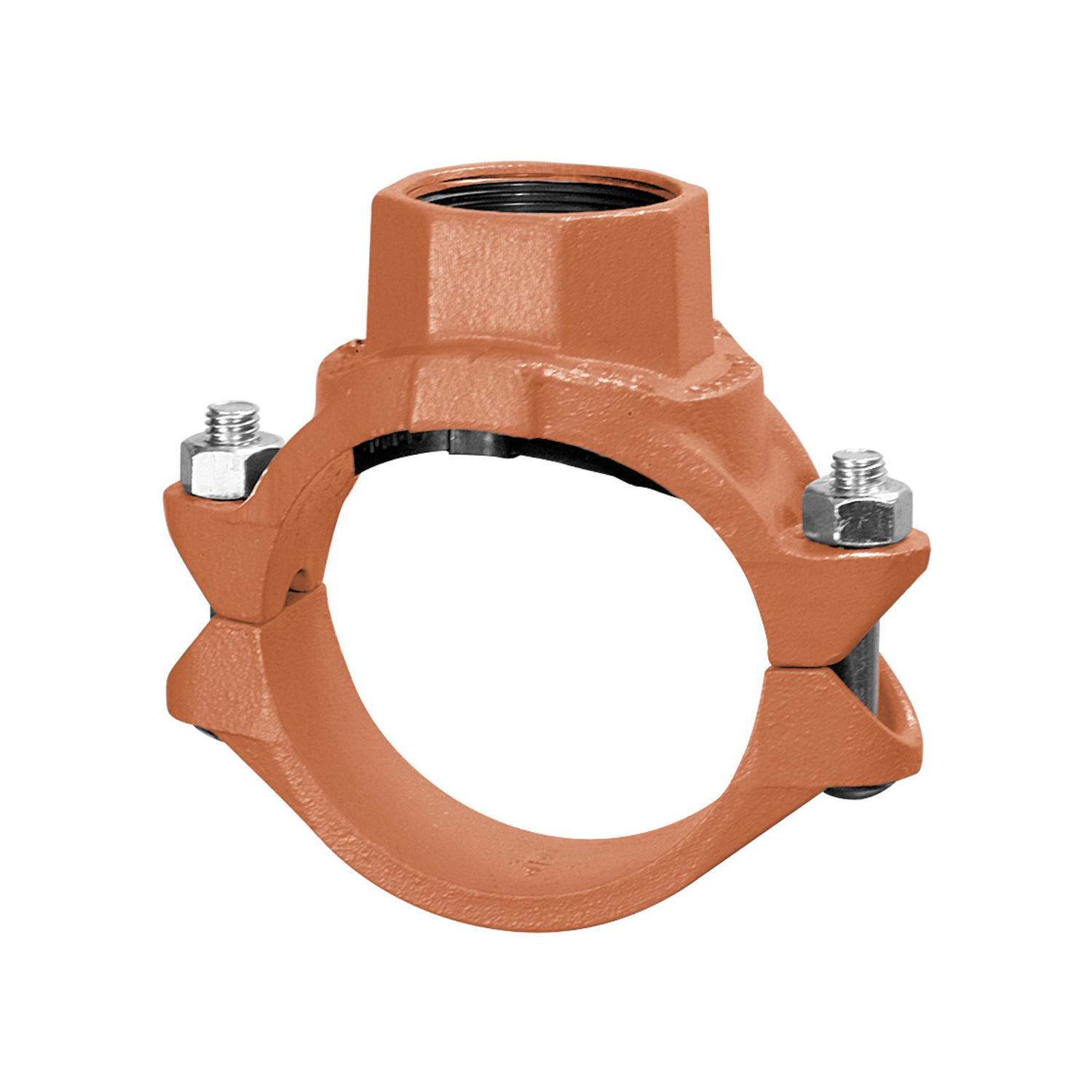 Gruvlok® 0390171106 FIG 7045 Clamp-T Branch Outlet, 2-1/2 x 1-1/2 in, FNPT Connection, Ductile Iron Clamp, Rust Inhibiting Orange Painted