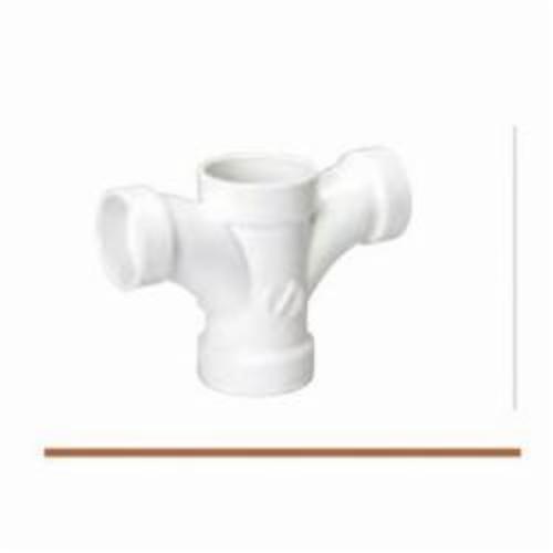 Streamline® 05244 Double Fixture Tee, 2 x 2 x 1-1/2 x 1-1/2 in, Hub, SCH 40/STD, PVC, Domestic