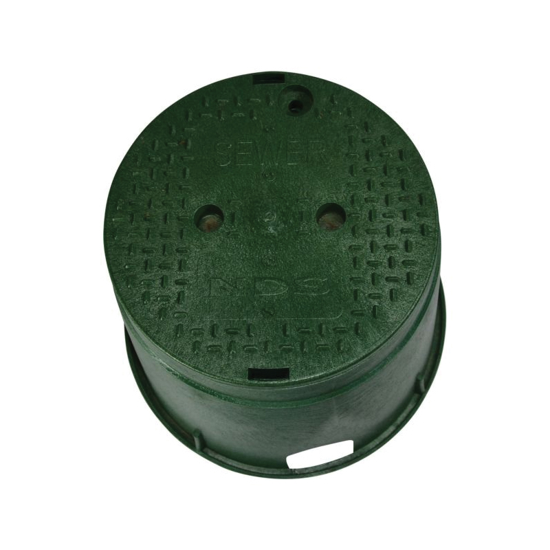 NDS® 112BCS Standard Valve Box With Green Cover, 12-7/8 in Dia 11-5/8 in H, Round Shape, Domestic