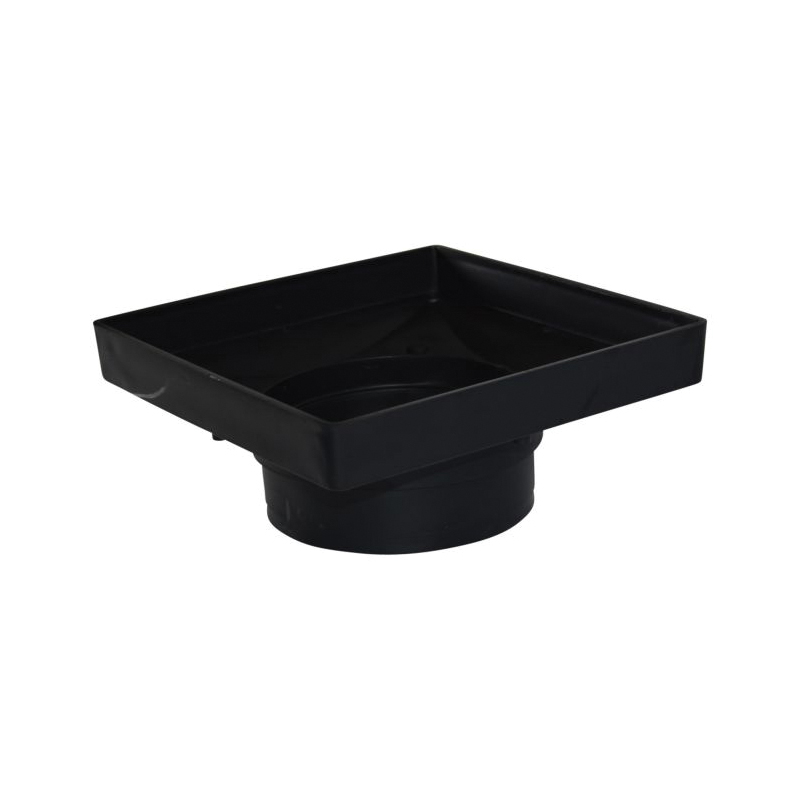 NDS® 932 Low Profile Catch Basin Adapter With UV Inhibitor, 9 in, For Use With 6 in Spee-D® Basin and 6 in Sewer and Drain Pipe and Fittings, Square, HIPS, Black, Domestic
