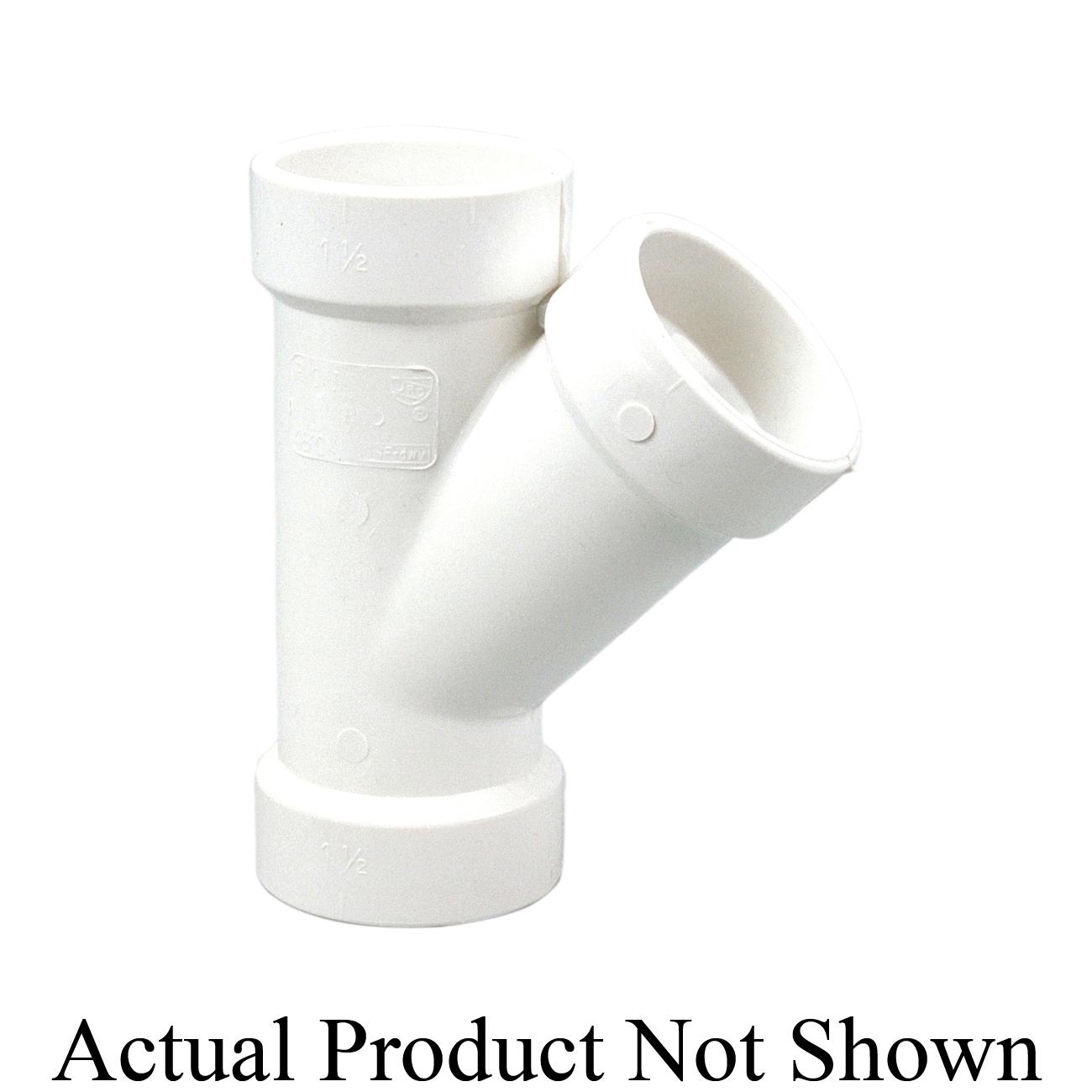 NIBCO® K090300 4810-R DWV Reducing Wye, 2 x 2 x 1-1/2 in Nominal, Hub End Style, PVC, Domestic