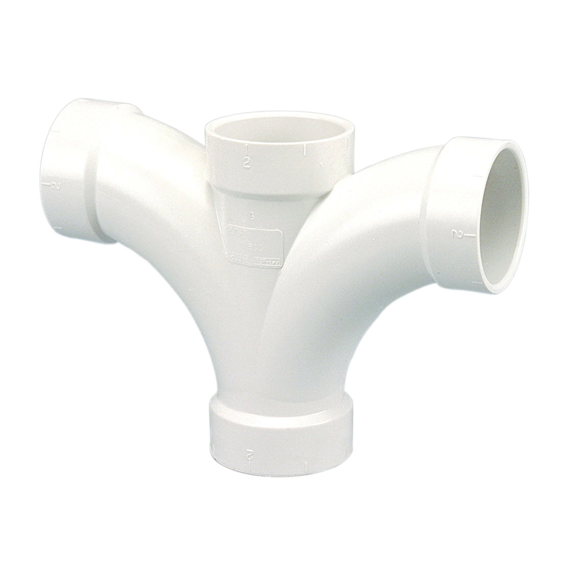 NIBCO® K277450 4835-B DWV Double Fixture Tee, 2 in Nominal, Hub End Style, PVC, Domestic