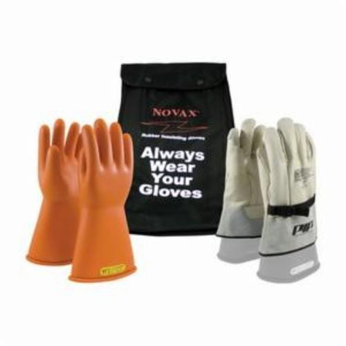 Novax® 147-2-14/8 Insulating Unisex Electrical Safety Gloves, SZ 8, Natural Rubber, Orange, 14 in L, ASTM Class: Class 2, 17000 VAC/25500 VDC Max Use Voltage