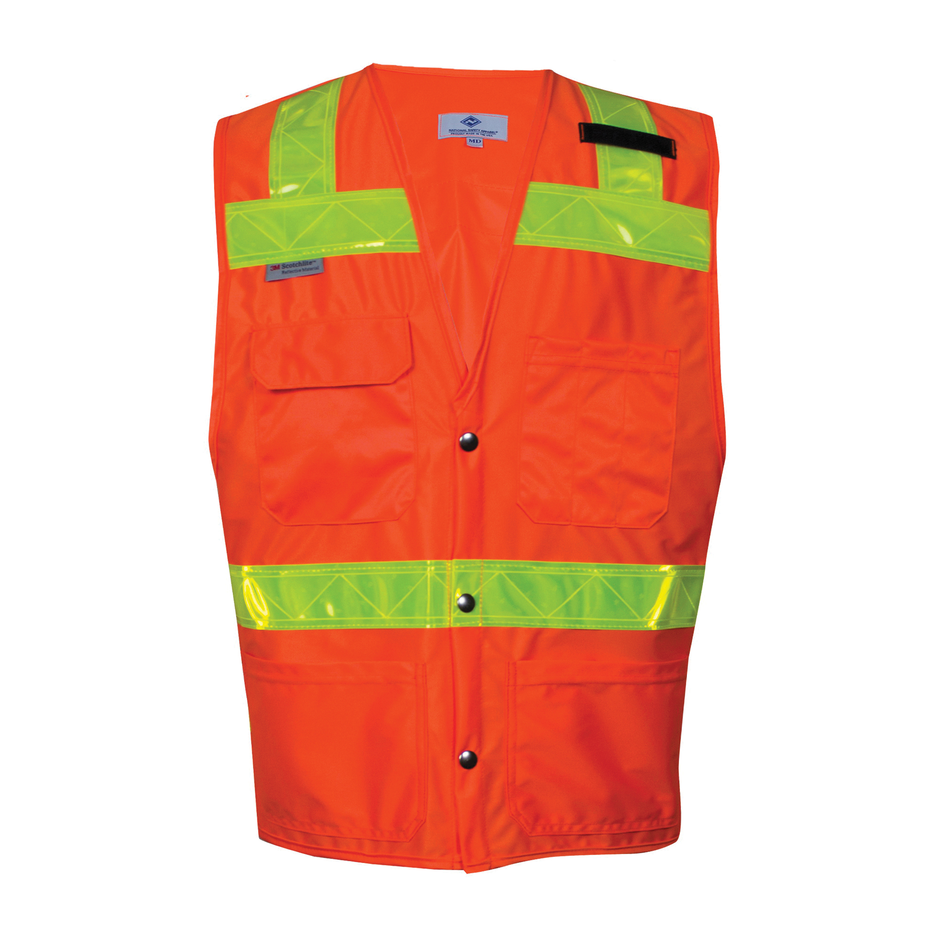 VIZABLE® VNT8016-5X VNT8016 Series Survey and Construction Mesh Safety Vest, 5X-Large, High Visibility Fluorescent Yellow, 3 oz Breathable Polyester Micro Mesh, Snap Front Closure