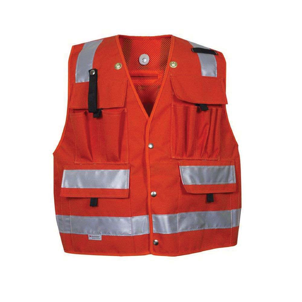 National Safety Apparel® VIZABLE™ 8328-L Deluxe Road Vest, L, Hi-Viz Fluorescent Yellow, Micro Mesh, Zipper Closure, 4 Pockets, ANSI Class: Class 2, Specifications Met: ANSI/ISEA 107-2010 Type R