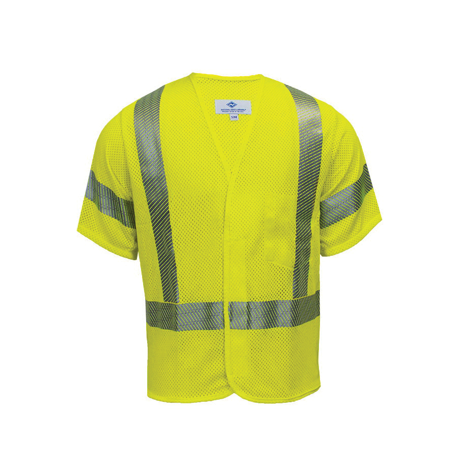 VIZABLE® FR V00HA2X3Z V00HA3Z Series Flame Resistant Mesh Safety Vest, 2X-Large, High Visibility Fluorescent Yellow, 5.8 oz Modacrylic and Para-Aramid Mesh, Front Zipper Closure