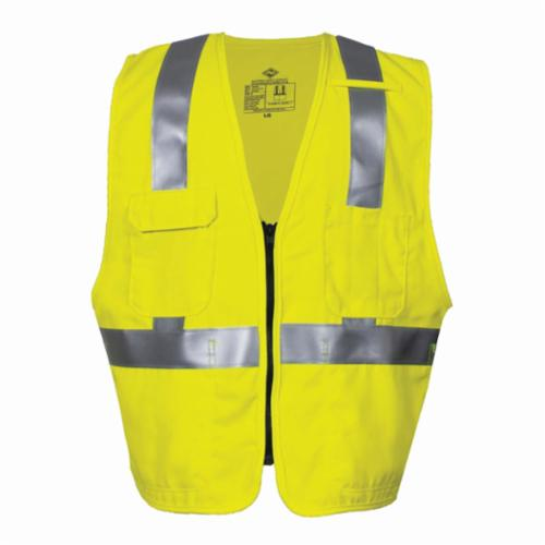 VIZABLE® FR V21TV2Z-5X V21TV2Z Series Flame Resistant Deluxe Road Safety Vest, 5X-Large, High Visibility Fluorescent Yellow, 6.5 oz Woven Modacrylic Blend, Front Zipper Closure