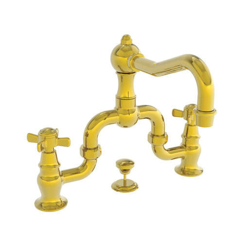 Newport Brass® 1000B/03N Model 1000B Fairfield Bridge Style Lavatory Faucet, 1.2 gpm Flow Rate, 6-3/8 in H Spout, 8 to 9-3/4 in Center, Living Uncoated Polished Brass, 2 Handles, Pop-Up Drain