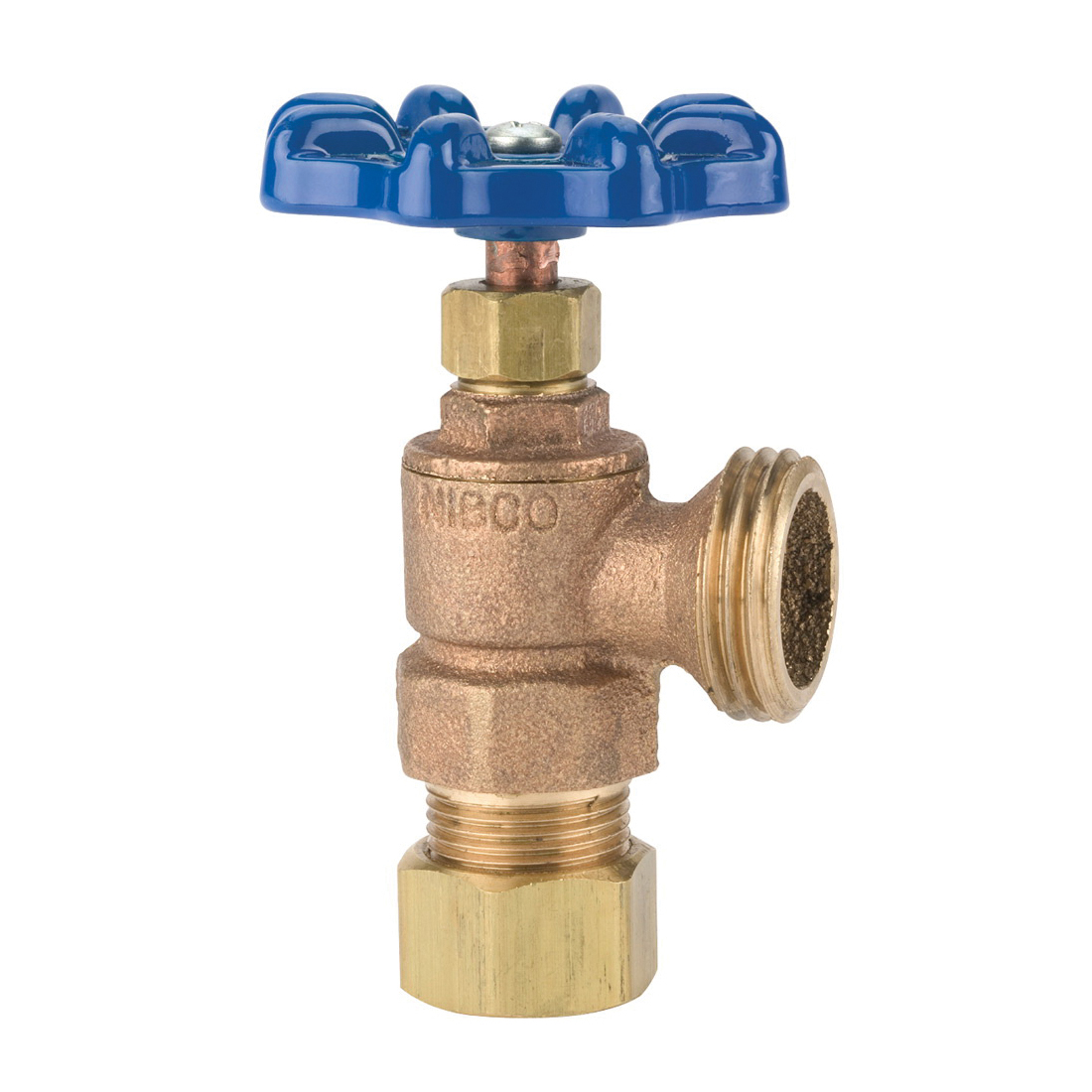 NIBCO® N53LEP6 4464 Multi-Turn Boiler Drain Valve, 1/2 in Nominal, Compression x Hose End Style, 125 psi Pressure, Bronze Body, Import