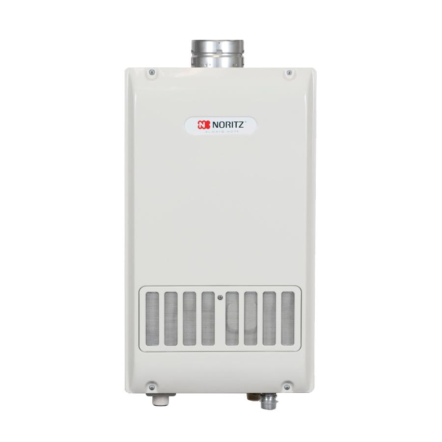 Noritz® NR981-SV-NG Mid Efficiency Tankless Water Heater, Natural Gas Fuel, 199900 Btu/hr Heating, Indoor/Outdoor: Indoor, 0.5 to 9.8 gpm Flow Rate, Power Vent, 0.82, Residential