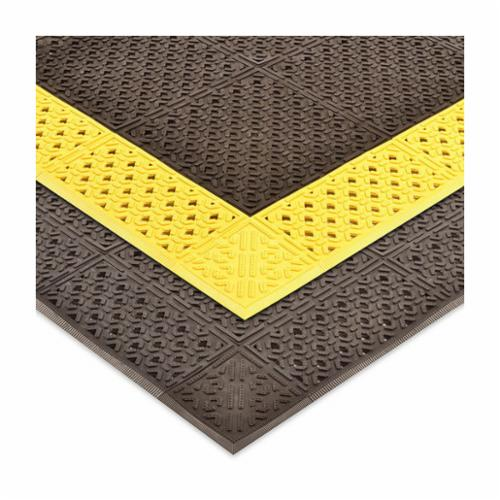 NoTrax® 5083FTX5FTBLKYEL Diamond-Cushion™ 508 Anti-Fatigue Floor Mat, 5 ft L x 3 ft W x 1/2 in THK, Closed Cell PVC Foam, Diamond Plate Surface Pattern