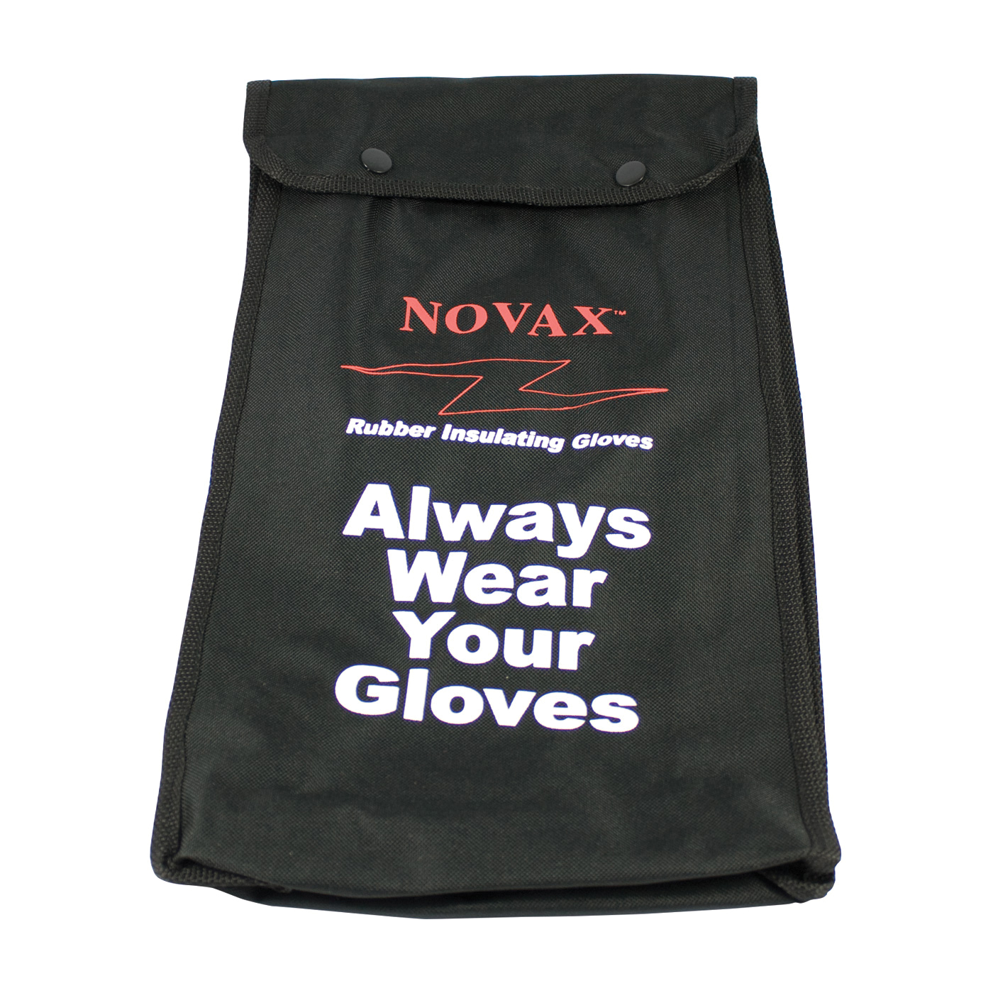 Novax® 148-2136 Protective Bag, Plastic Hook, Snap Closure, For Use With Novax Rubber Insulating Gloves, Nylon, Black with Red/White Lettering