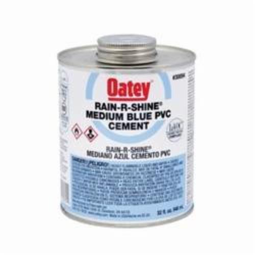 Oatey® Rain-R-Shine® 30894 Low VOC Medium Body PVC Cement, 32 oz Container, Blue