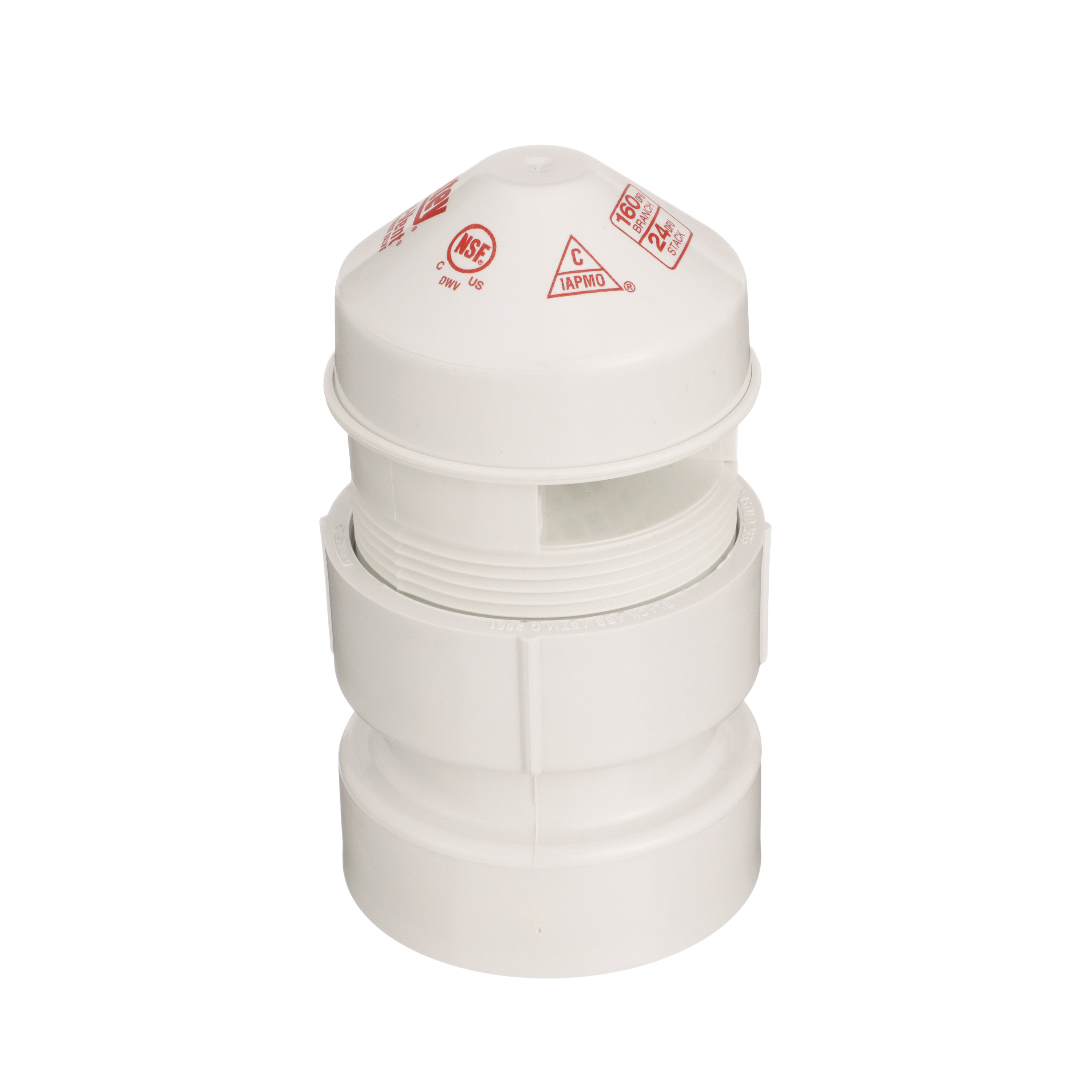Oatey® Sure-Vent® 39017 Air Admittance Valve With 1-1/2 x 2 in PVC SCH 40 Adapter, 1-1/2 to 2 in, NPT, 20 DFU, PVC Body, Domestic