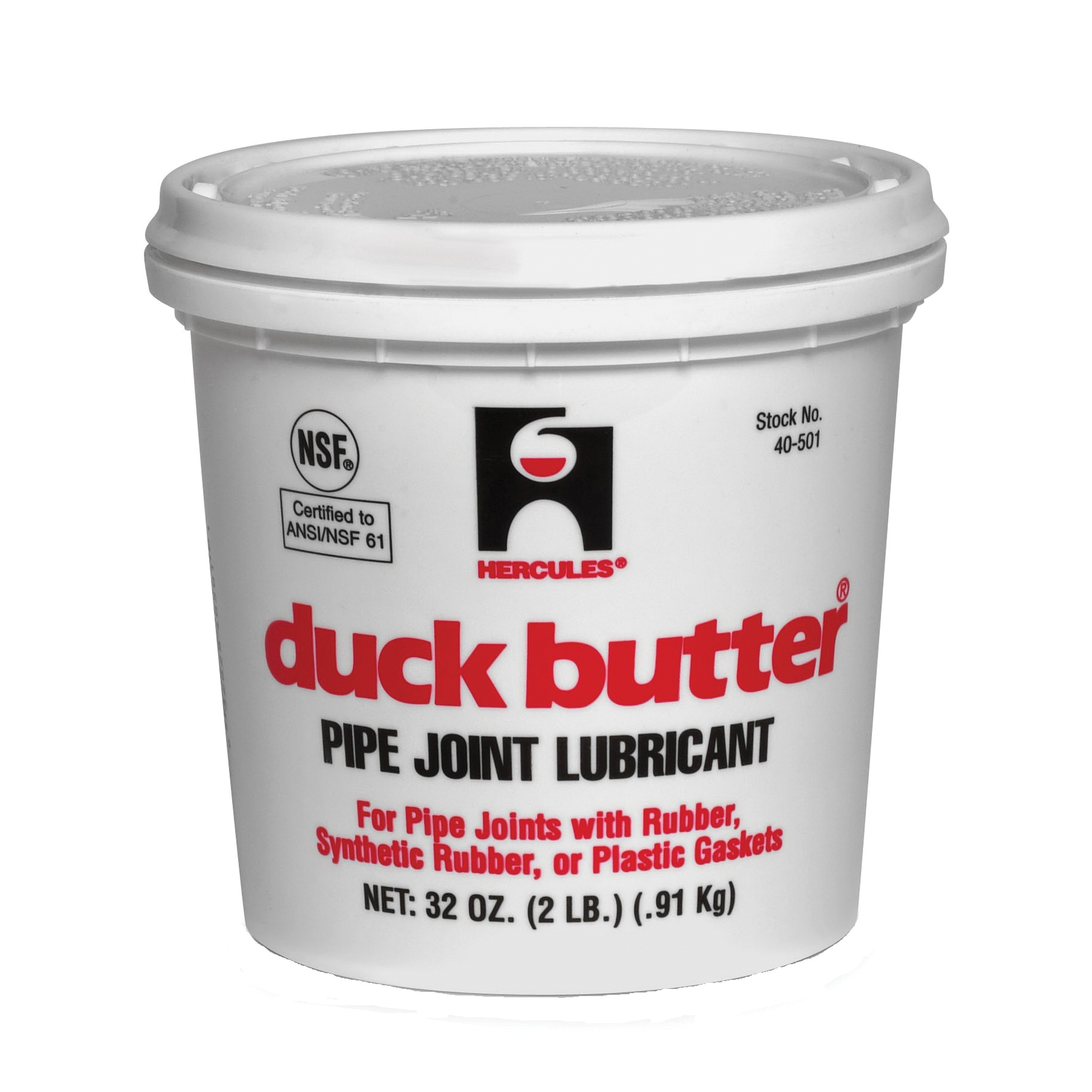 Hercules® Duck Butter® 40501 Water-Soluble Pipe Lubricant, 2 lb, Paste, Off-White