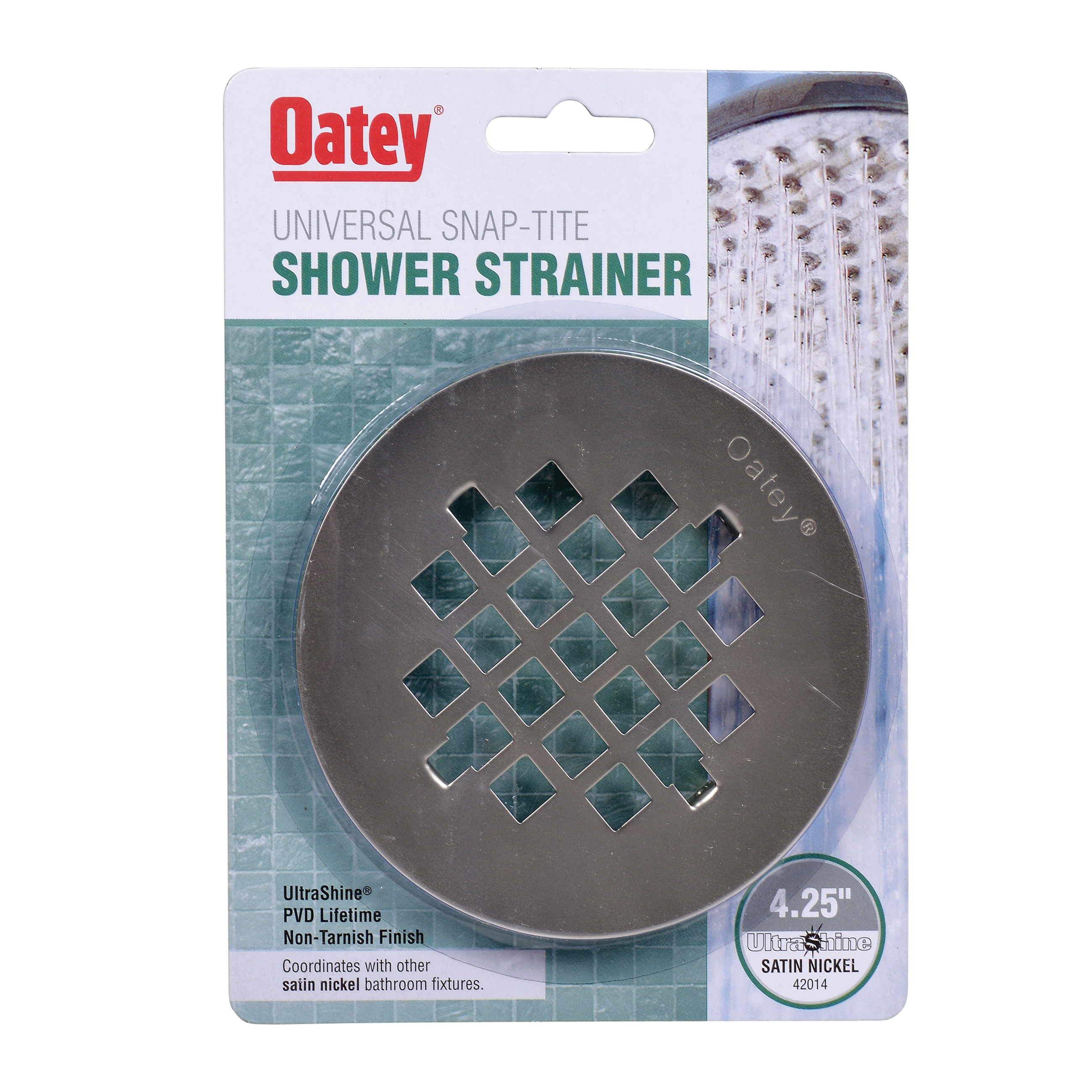 Oatey® 42014 Round Snap-Tite Strainer, 4-1/4 in Nominal, Stainless Steel, PVD Satin Nickel, Import