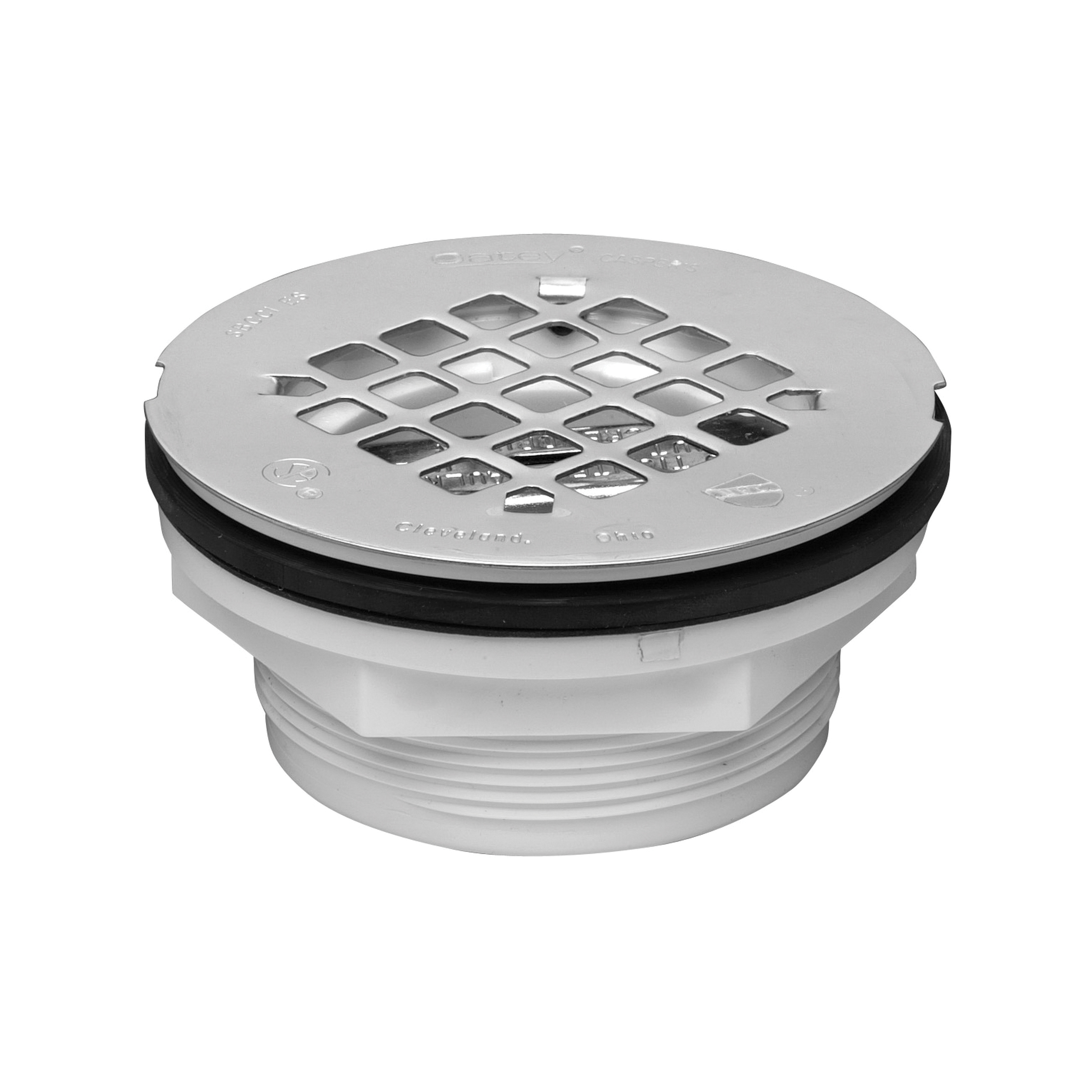 Oatey® 42099 101 No Caulk Shower Drain With Stainless Steel Strainer, 2 in, 4-1/4 in Stainless Steel Grid, PVC Drain, Domestic