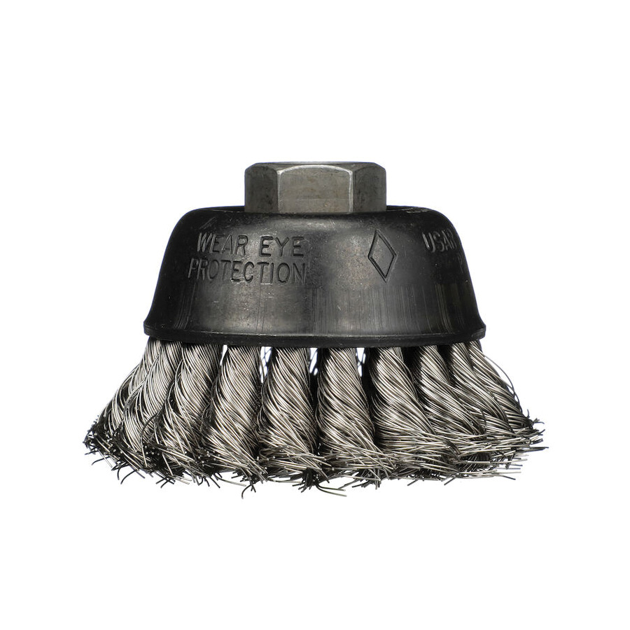 Osborn 0003301100 Heavy Duty Single Row Cup Brush With Nut, 6 in Dia Brush, 5/8-11 UNC Arbor Hole, 0.014 in Dia Filament/Wire, Partial Twist Knot, Carbon Steel Fill
