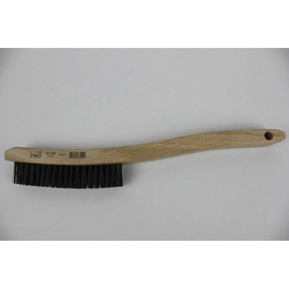 Osborn 0005401400 Angled Back Small Cleaning Scratch Brush, 1-7/16 in L Brush, 7/16 in W Block, 7-3/4 in OAL, 7/16 in L Brass Trim