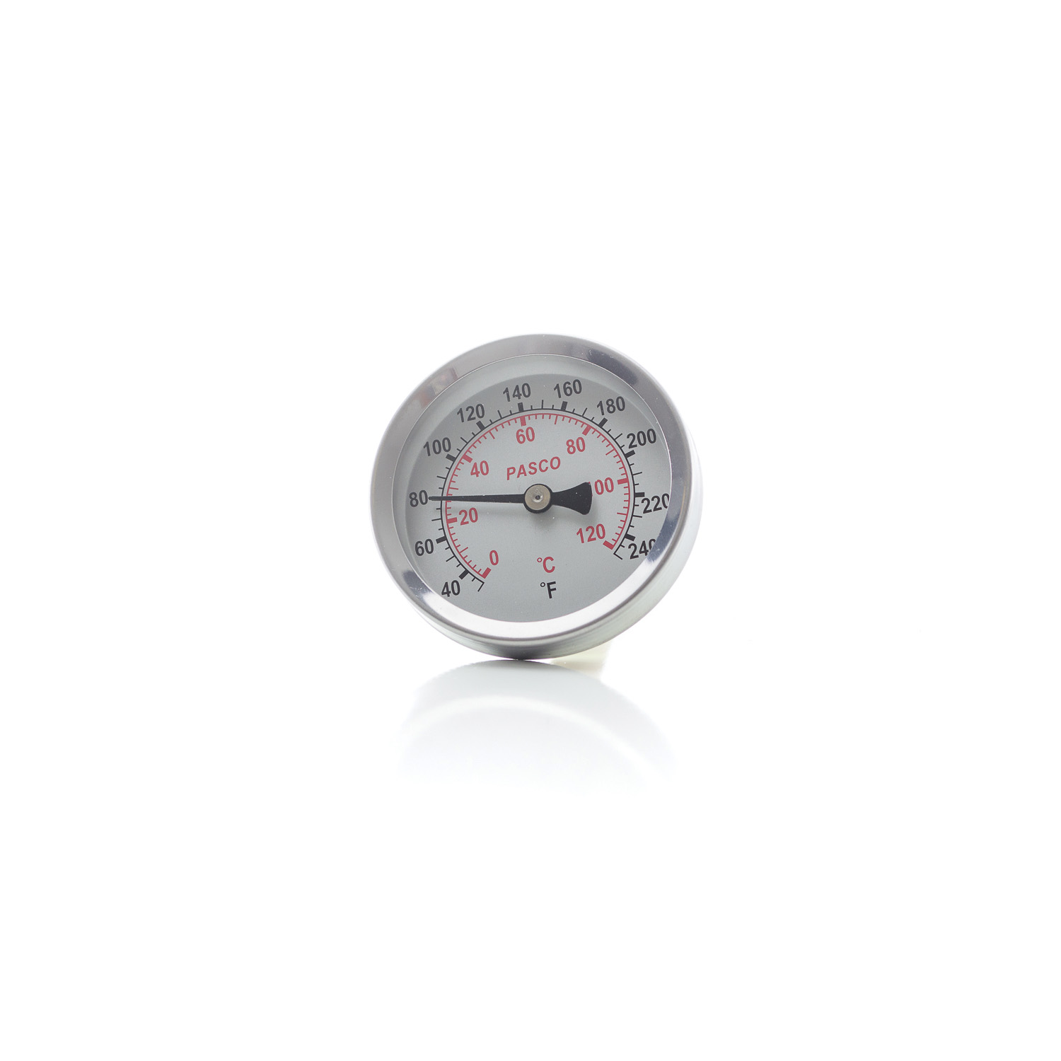 PASCO 1449 Economical Dial Thermometer, 2-1/2 in Dial, 1/2 in MNPT Back Mount Connection, 40 to 250 deg F