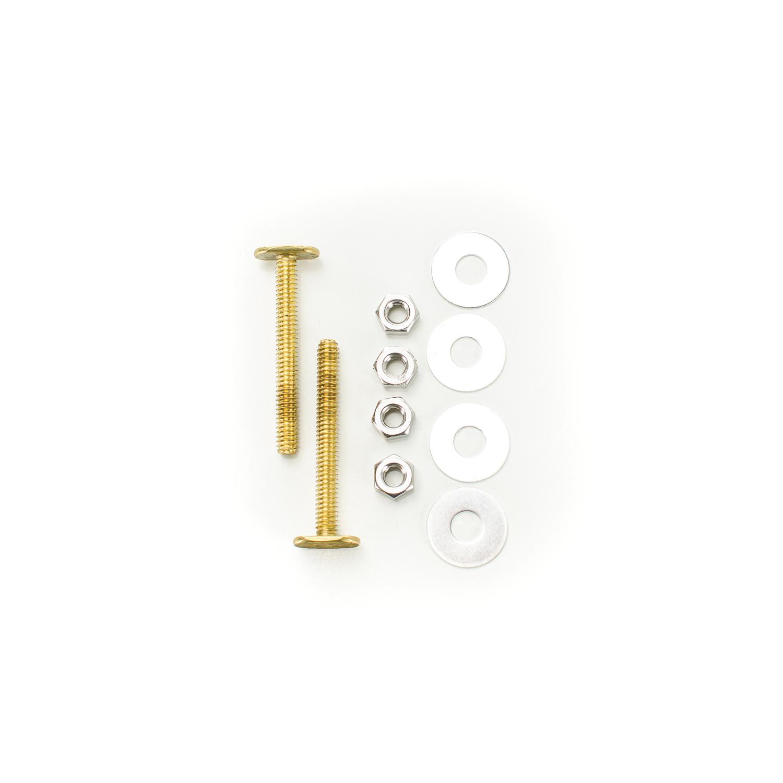 PASCO 28 Closet Bolt Set, 1/4 in x 2-1/4 in L Thread, Brass