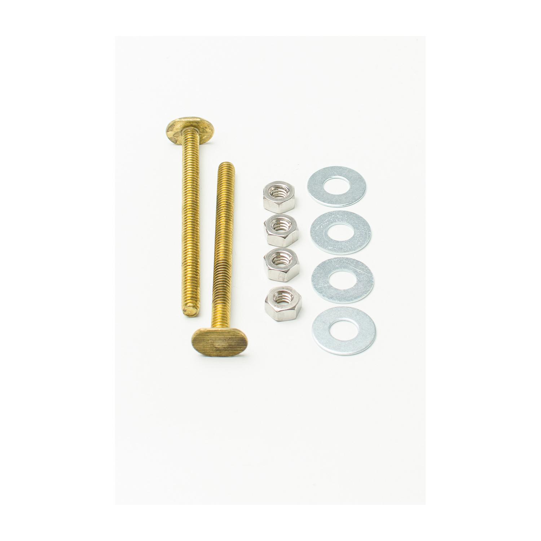 PASCO 30 Closet Bolt Set, 1/4 in x 3-1/2 in L Thread, Brass