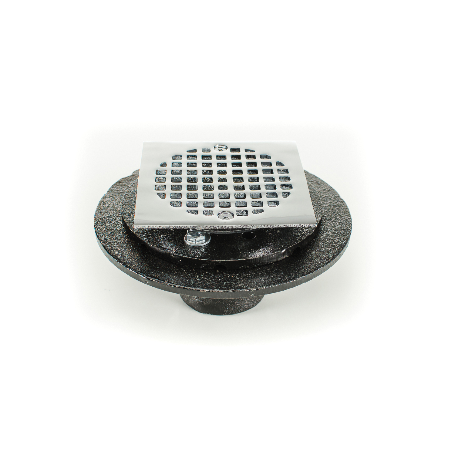 PASCO 60205SQ Square Shower and Floor Drain, 2 in Nominal, No Hub Connection, Cast Iron Drain
