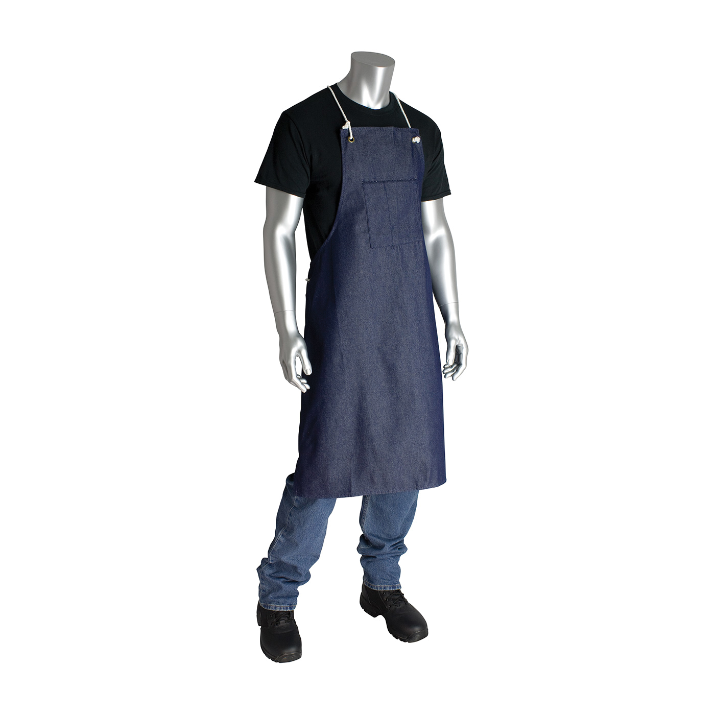 PIP® 200-01002 Embossed Single Use Bib Apron, Polyethylene, 46 in L x 28 in W, Resists: Chemical, Fats, Oil and Grease