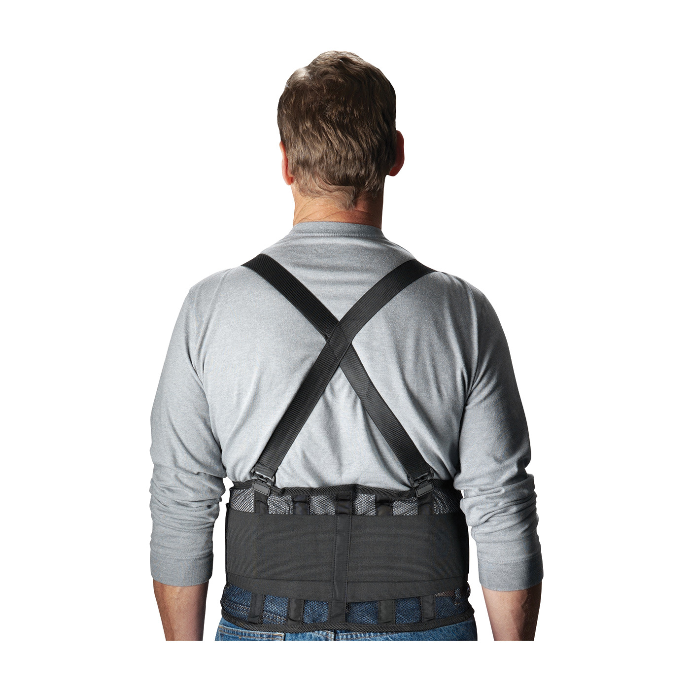 ProFlex® 11603 1100SF Standard Back Support Brace With Suspenders, M, 30 to 34 in Fits Waist, 8 in W, 280D Spandex®, Black, Hook and Loop Closure