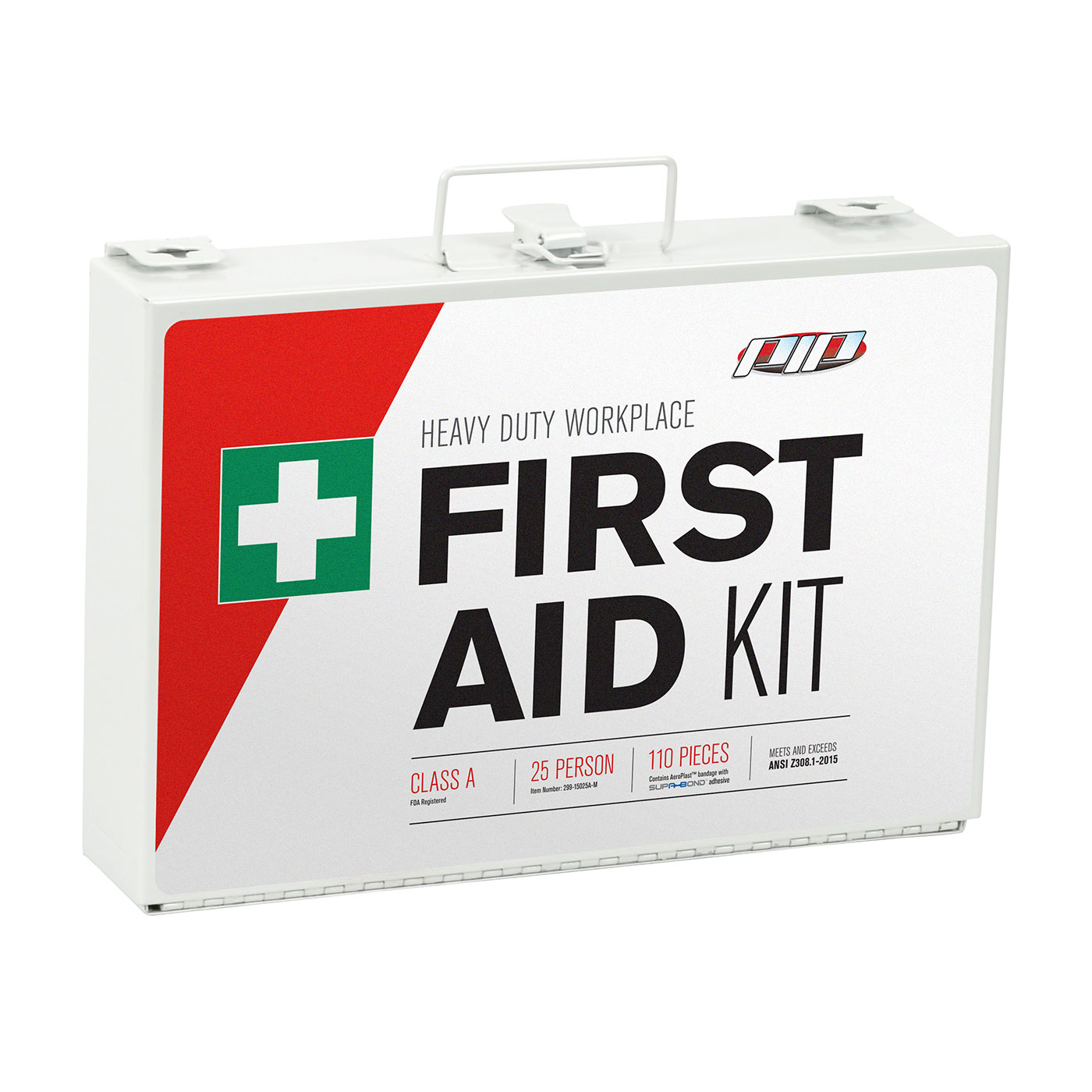 PIP® 299-15025A Lightweight Waterproof First Aid Kit, Wall Mount, 110 Components, Plastic Case