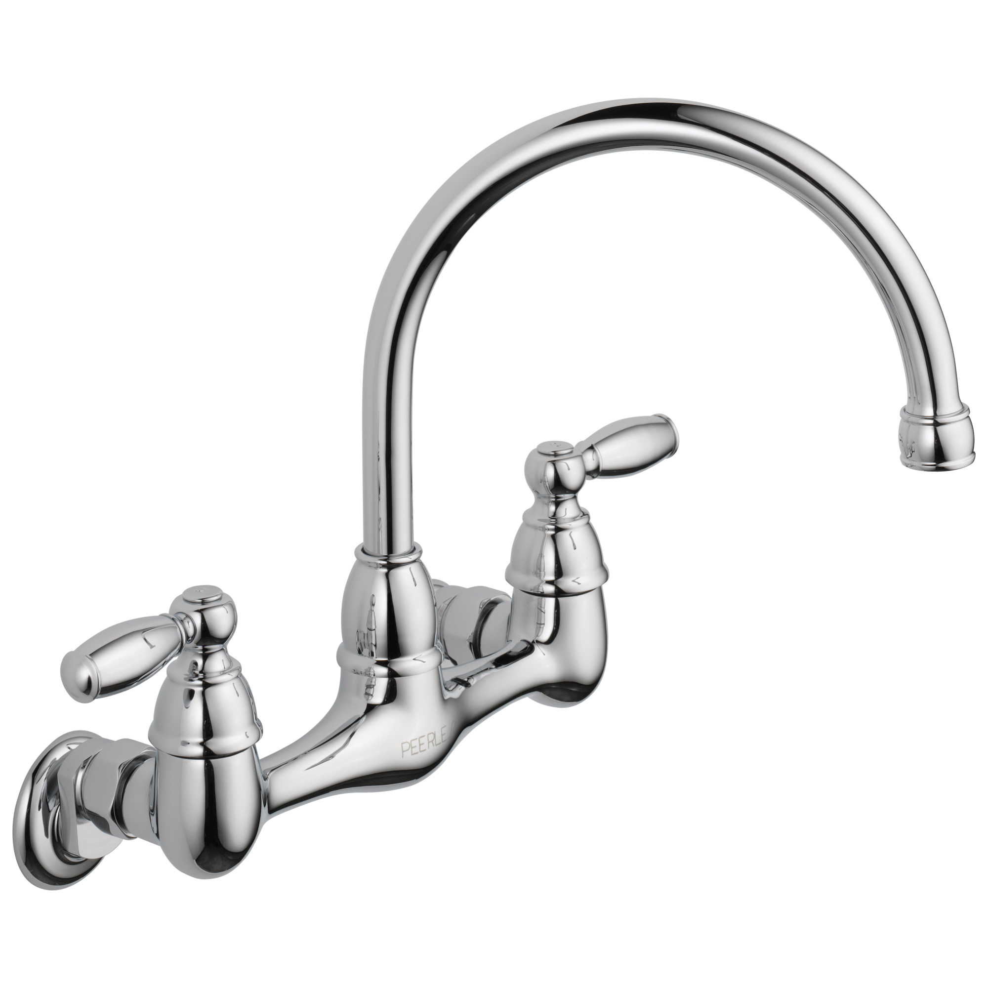 Peerless® P299305LF Kitchen Faucet, Commercial, 1.8 gpm Flow Rate, 7 to 9 in Center, High-Arc Spout, Polished Chrome, 2 Handles, Import